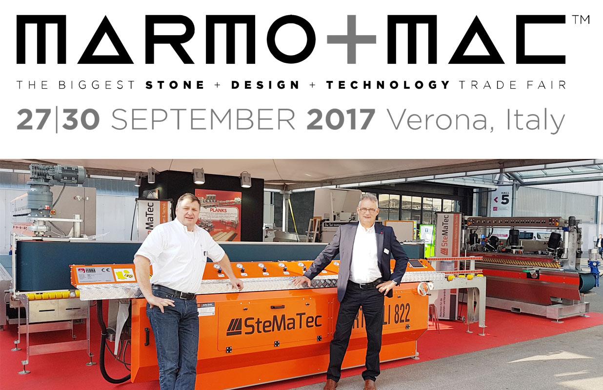Reiner Schölles und Gerhard Kraut auf der Marmo+Mac 2017 vor der Vertikale 822